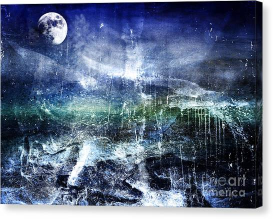 Abstract Moonlit Seascape Painting 36a Canvas Print