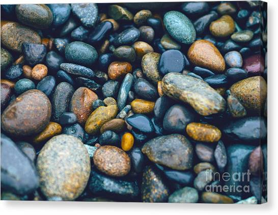 Abstract Nature Tropical Beach Pebbles 923 Blue Canvas Print