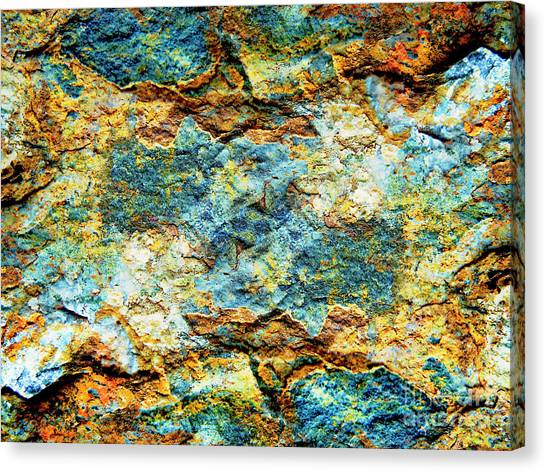 Abstract Nature Tropical Beach Rock Blue Yellow And Orange Macro Photo 472 Canvas Print