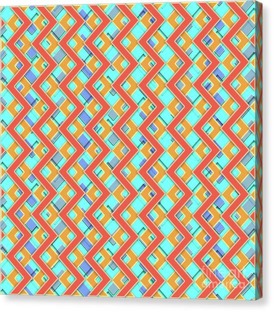 Arte Canvas Print - Abstract Orange, Cyan And Red Pattern For Home Decoration by Drawspots Illustrations