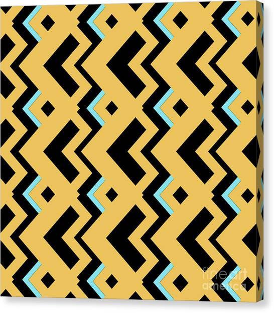 Suprematism Canvas Print - Abstract Orange, Dark Gray And Cyan Pattern For Home Decoration by Drawspots Illustrations