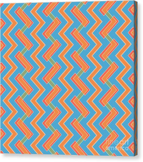 Arte Canvas Print - Abstract Orange, Red And Cyan Pattern For Home Decoration by Drawspots Illustrations
