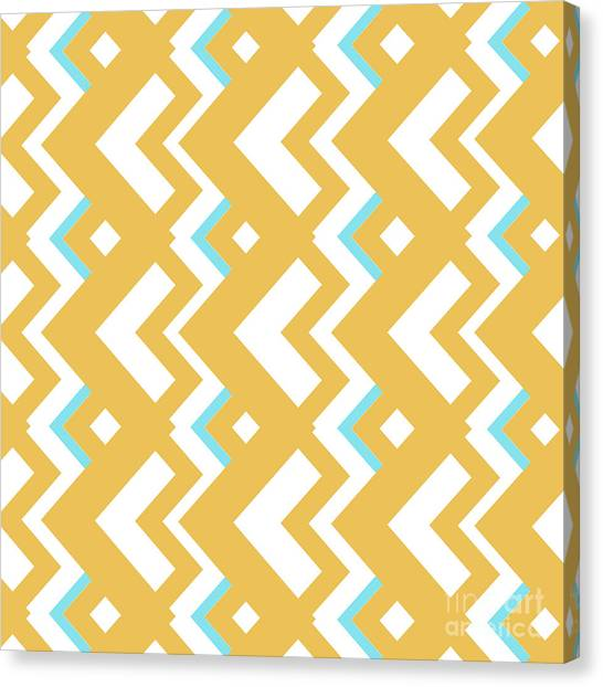 Suprematism Canvas Print - Abstract Orange, White And Cyan Pattern For Home Decoration by Drawspots Illustrations