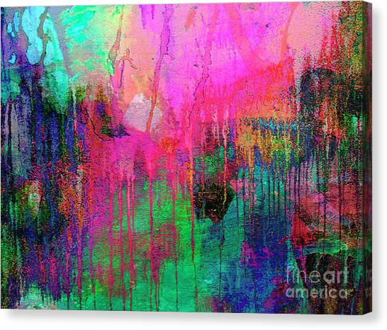 Abstract Painting 621 Pink Green Orange Blue Canvas Print