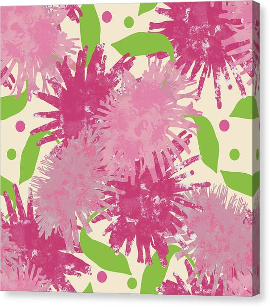 Abstract Pink Puffs Canvas Print