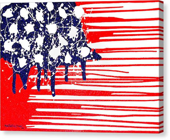Abstract Plastic Wrapped American Flag Canvas Print