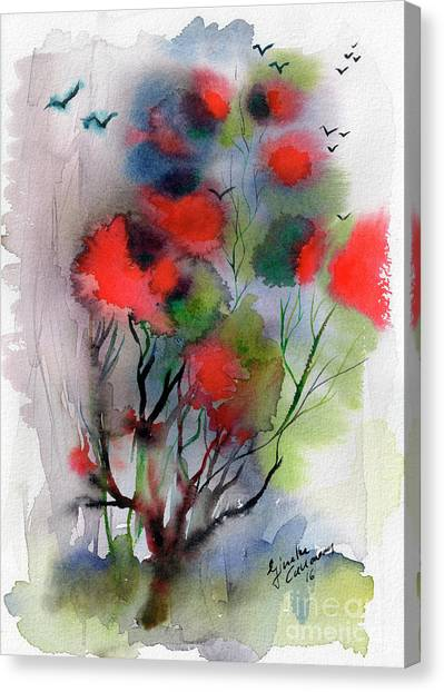 Abstract Poinciana Tree Watercolor Canvas Print