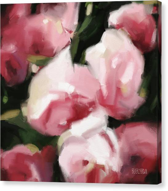Red Roses Canvas Print - Abstract Roses Dark And Light Pink by Beverly Brown Prints