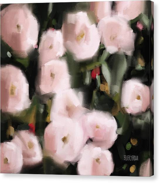 Abstract Rose Canvas Print - Abstract Roses Peach And Light Pink by Beverly Brown Prints