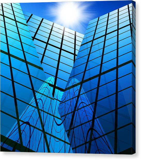 Window Canvas Print - Abstract Skyscrapers by Setsiri Silapasuwanchai