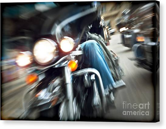 Abstract Slow Motion Bikers Riding Motorbikes Canvas Print by Anna Om