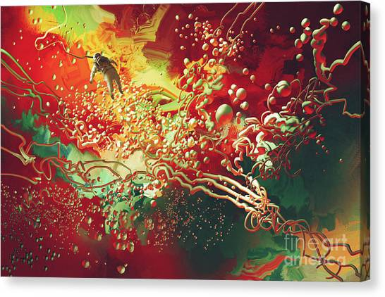 Canvas Print featuring the painting Abstract Space by Tithi Luadthong