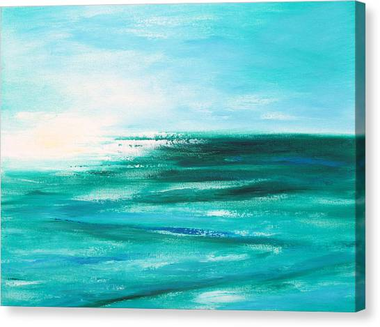 Abstract Sunset In Blue And Green 2 Canvas Print