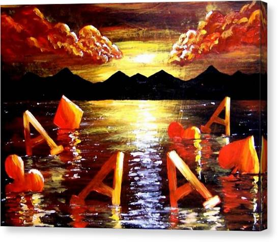 Abstract Sunset Landscape Seascape Floating Aces Suits Poker Art Decor Canvas Print by Teo Alfonso