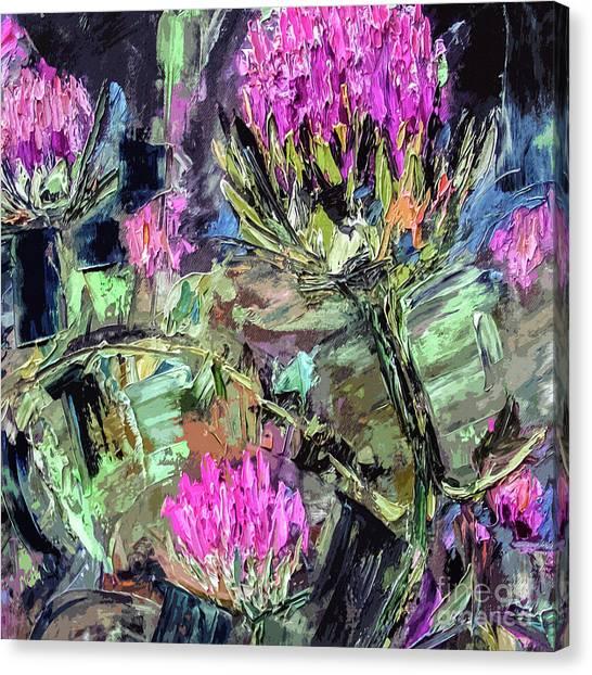 Abstract Thistles Modern Botanical Art Canvas Print