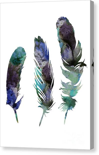 Largemouth Bass Canvas Print - Abstract Three Feathers Watercolor Painting by Joanna Szmerdt