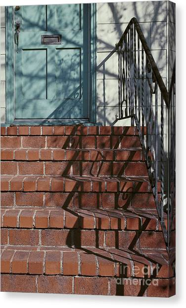 abstract urban photography - Blue Door with Red Bricks Canvas Print