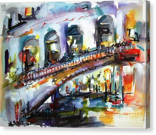 Abstract Venice Reflections Under Rialto Canvas Print