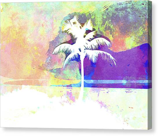 Island .oasis Canvas Print - Abstract Watercolor - Beach Sunset II by Chris Andruskiewicz