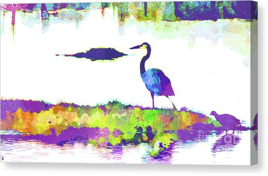 Island .oasis Canvas Print - Abstract Watercolor - Florida Heron by Chris Andruskiewicz