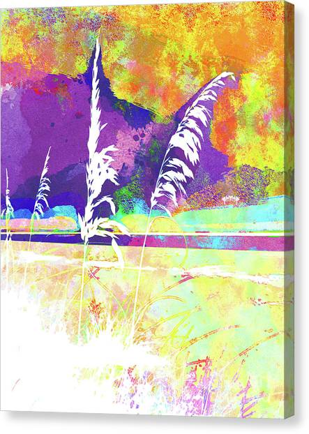 Surf Lifestyle Canvas Print - Abstract Watercolor - Morning Sea Oats II by Chris Andruskiewicz