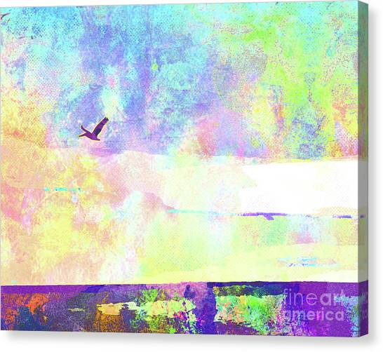 Surf Lifestyle Canvas Print - Abstract Watercolor - Pelican In Flight by Chris Andruskiewicz