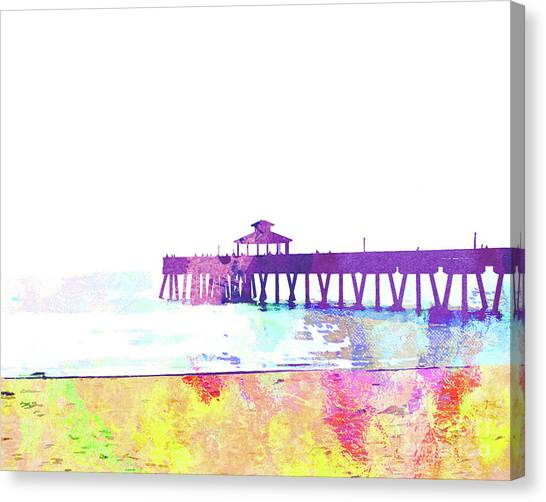 Island .oasis Canvas Print - Abstract Watercolor - Pier At Dusk by Chris Andruskiewicz