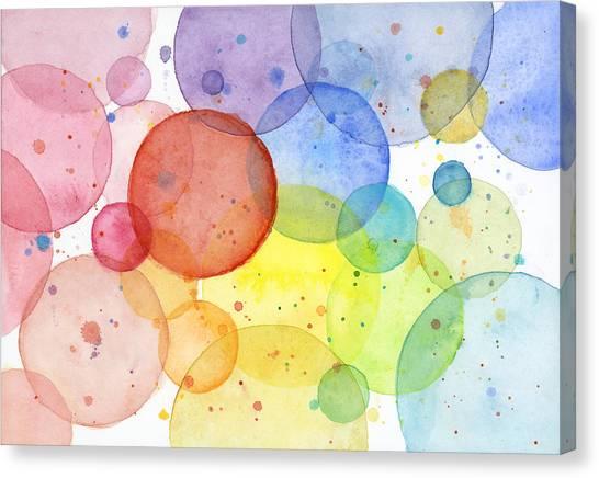 Rainbows Canvas Print - Abstract Watercolor Rainbow Circles by Olga Shvartsur
