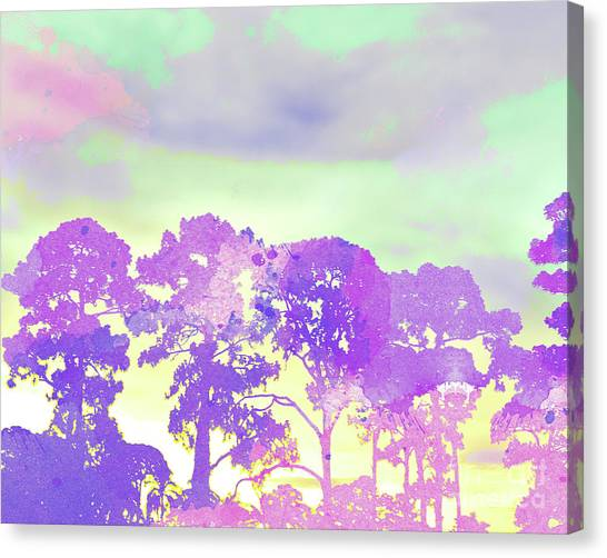 Surf Lifestyle Canvas Print - Abstract Watercolor - Sunset Trees by Chris Andruskiewicz