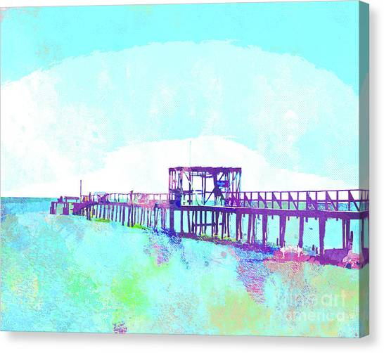 Surf Lifestyle Canvas Print - Abstract Watercolor - Texas Fishing Pier by Chris Andruskiewicz