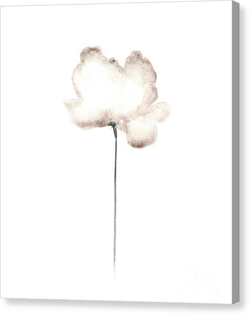 Flower Canvas Print - Abstract White Poppy Watercolor Art Print Painting by Joanna Szmerdt
