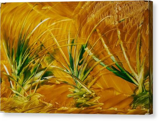 Abstract Yellow, Green Fields   Canvas Print