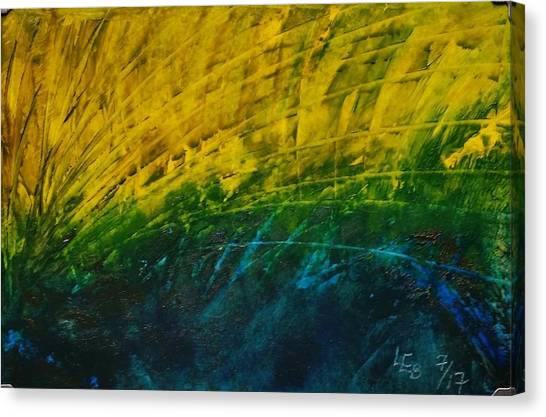 Abstract Yellow, Green With Dark Blue.   Canvas Print