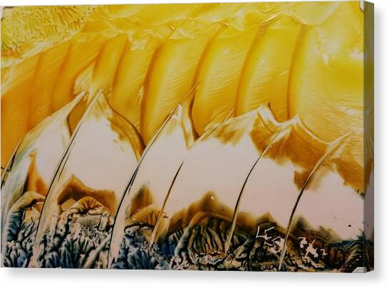 Abstract Yellow, White Waves And Sails Canvas Print