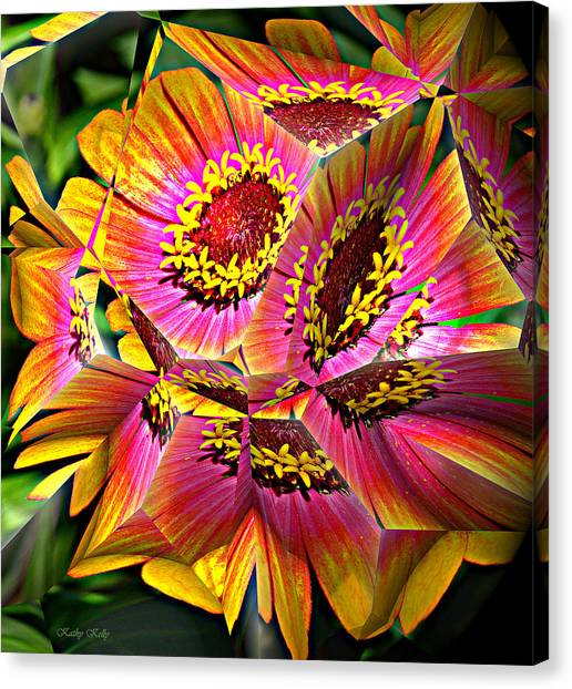 Abstract Yellow Flame Zinnia Canvas Print