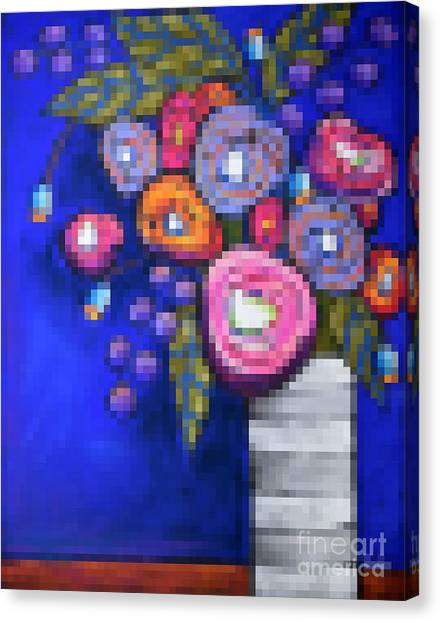 Pixelated Canvas Print - Abstracted Flowers - 2 by David Hinds