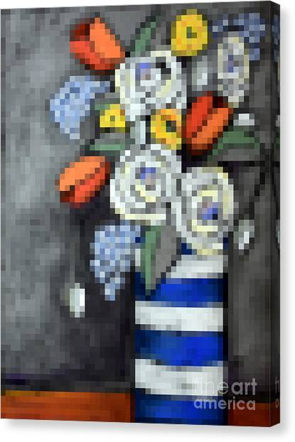 Pixelated Canvas Print - Abstracted Flowers - 3 by David Hinds