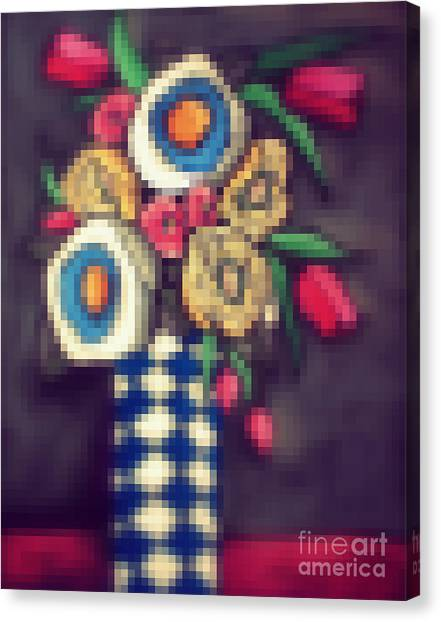 Pixelated Canvas Print - Abstracted Flowers- 5 by David Hinds