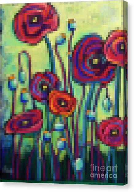 Pixelated Canvas Print - Abstracted Poppies by David Hinds