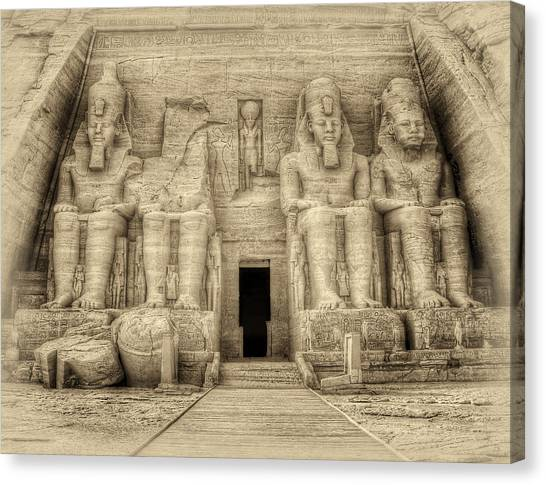 Abu Simbel Antiqued Canvas Print