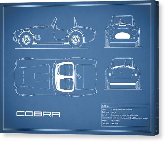 Cobras Canvas Print - Ac Cobra Blueprint by Mark Rogan