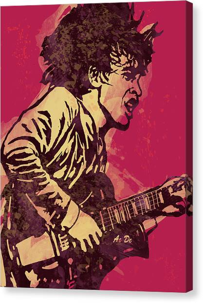 Ac Dc Canvas Print - Ac/dc Pop Stylised Art Sketch Poster by Kim Wang