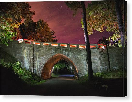 Acadia Carriage Bridge Under The Stars Canvas Print