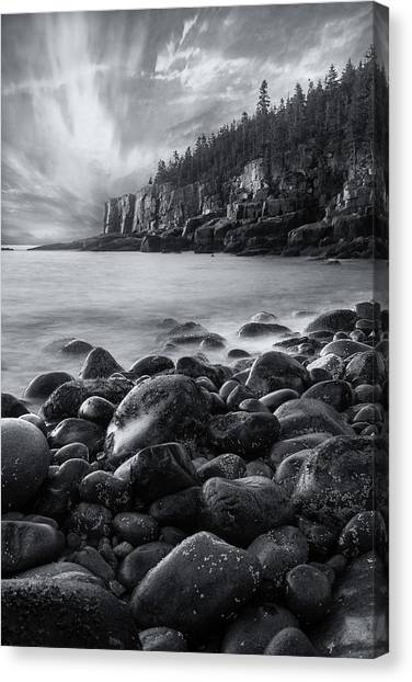 Acadia Radiance - Black And White Canvas Print
