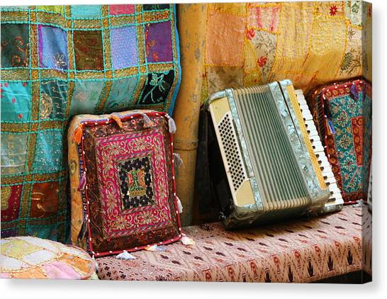 Accordion  With Colorful Pillows Canvas Print