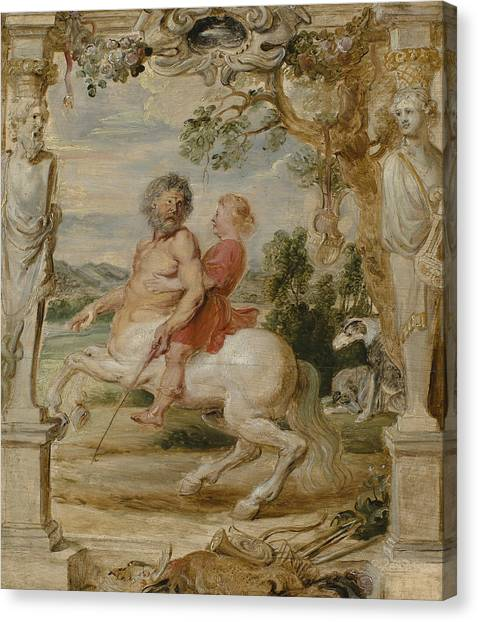 Centaurs Canvas Print - Achilles Educated By The Centaur Chiron by Peter Paul Rubens