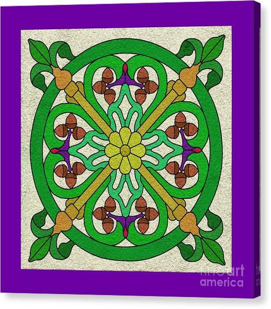 Acorn On Cream/purple Canvas Print