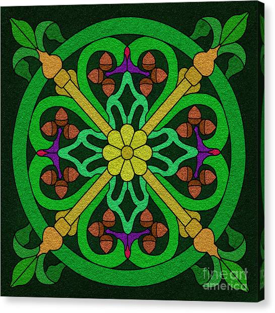 Acorn On Dark Green Canvas Print