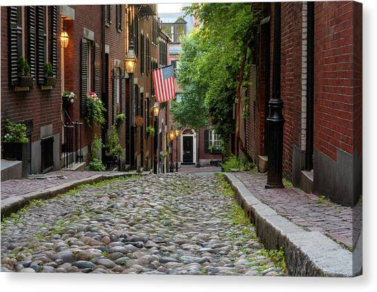 Canvas Print featuring the photograph Acorn St. Boston Ma. by Michael Hubley