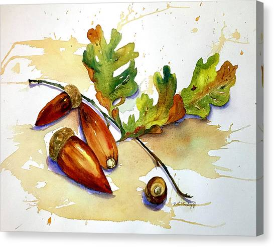 Acorns And Leaves Canvas Print